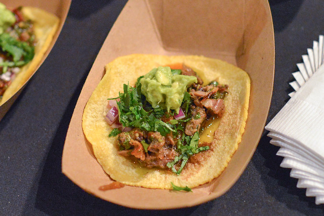 Tacos de Alambre grilled aspen ridge rib eye, braised tongue, applewood smoked bacon, roasted poblano, chimichurri