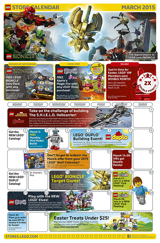 LEGO Shop March Calendar 2015