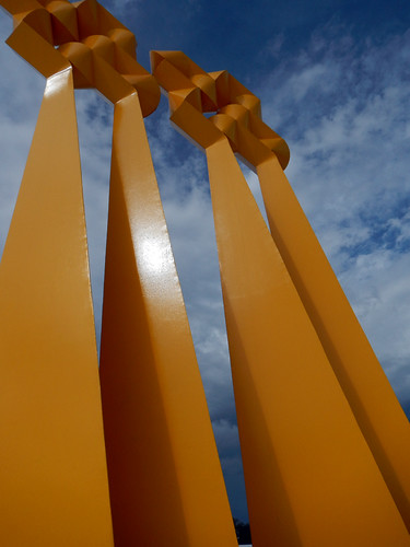 Aviles, Spain: Centro Neimeyer Yellow Sculpture on the Plaza