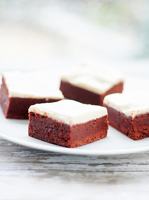fudgy red velvet bars with cream cheese glaze