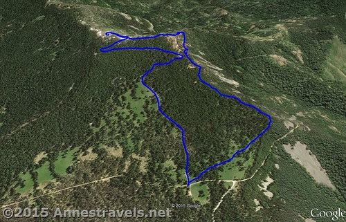 The Lookout Mountain Trail Visual Map - up is south. Mount Hood National Forest, Washington
