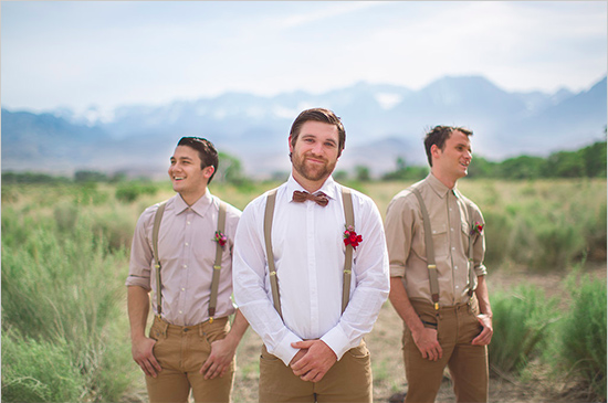 suspender white shirt groom