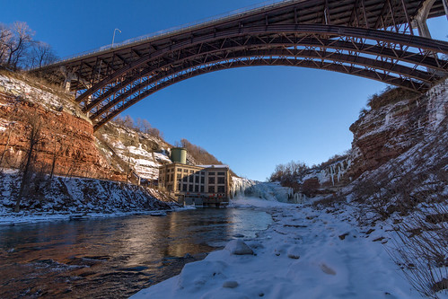 park bridge winter cliff snow ny newyork reflection ice nature sunshine weather architecture outside outdoors frozen waterfall day driving steel clear gorge daytime blueskies lowerfalls nys rochesterny geneseeriver monroecounty dandangler
