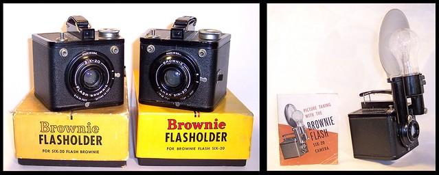 Kodak Six-20 Flash Brownie , Brownie Flash Six-20 and Flasholder .