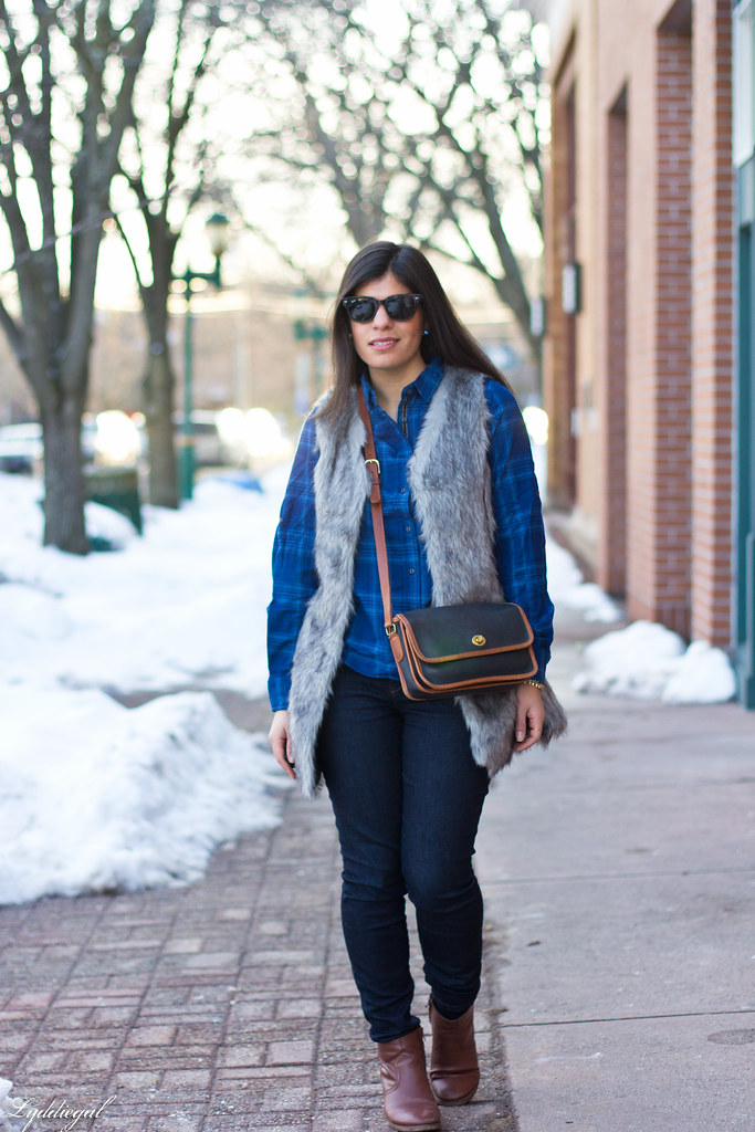 blue plaid shirt, fur vest, coach bag-1.jpg