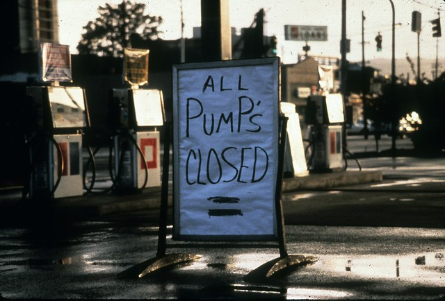 Closed gas station during energy crisis, 1976