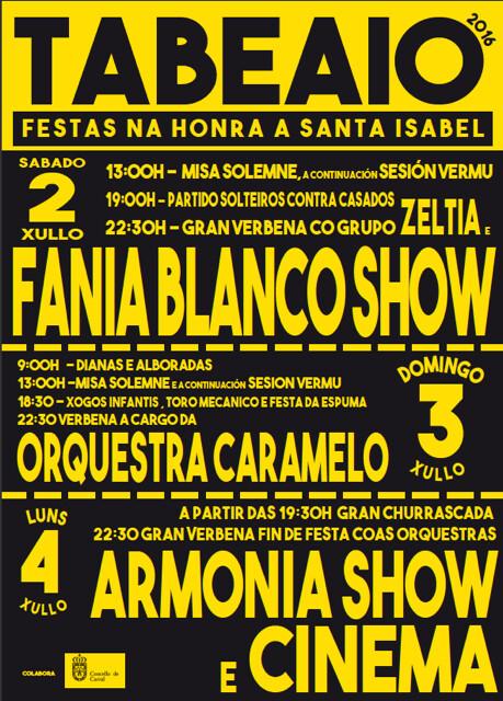 Carral 2016 - Festas de Santa Isabel en Tabeaio - cartel