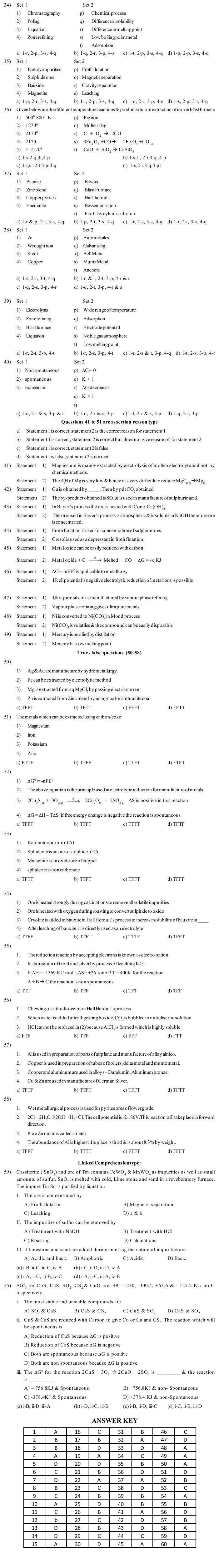 JEE and AIPMT Question Bank Chemistry - General Principles And Processes Of Isolation Of Metals
