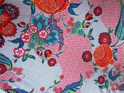 Hummingbird-esque rayon/lycra knit large print