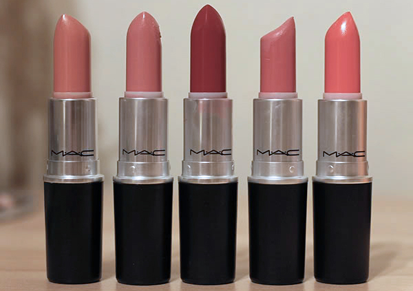 Top 5 MAC Lipsticks including Shy Girl, Angel, Please Me, Russian Red and Vegas Volt