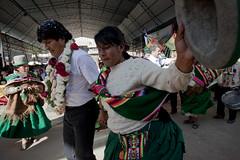 Evo Morales dances at the Rural Alliance Fair in Cliza