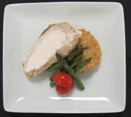 Chicken with White Chocolate Balsamic Sauce, Asparagus, Pumpkin Cranberry Rissole