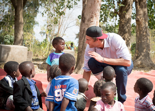 Brook Lopez Plays with Children at the Clinton Foundation Anchor Farm Project in Malawi