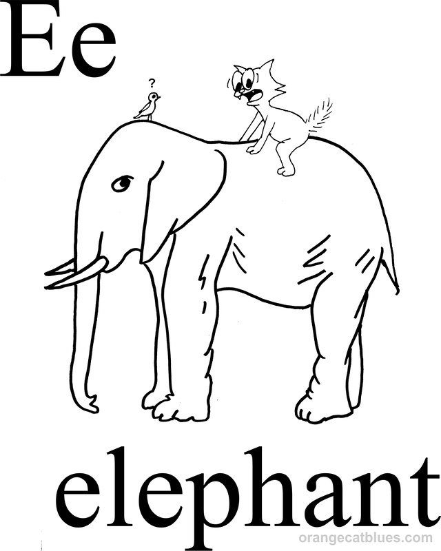 Coloring Page: E for Elephant