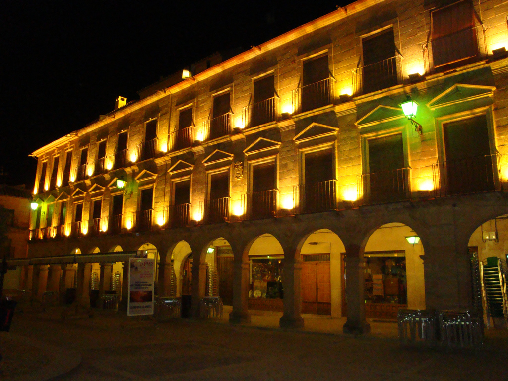 9. Detalle de la Plaza Mayor de noche. Autor, Zubitarra