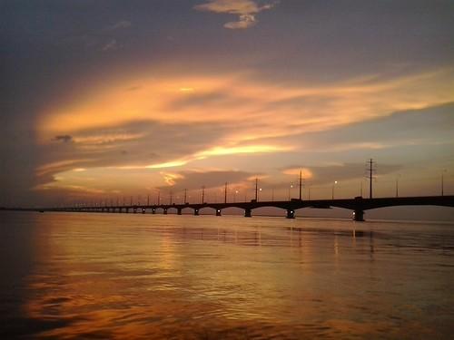 bridge sunset sky water river resort bangladesh sirajganj jamuna