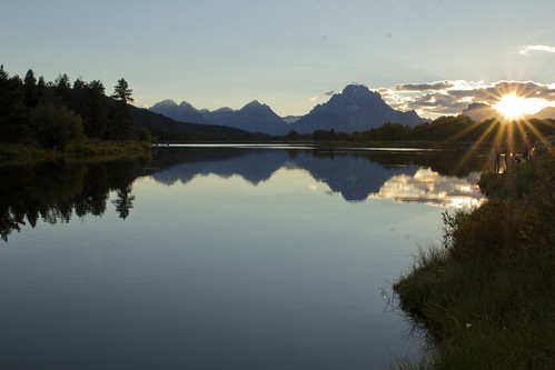 The Setting Sun on the Grand Tetons at Ox Bow Bend