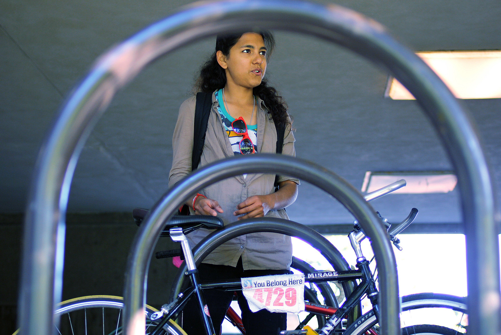 Zainab Abbas locks up her bike near Thornton Hall Oct. 7, 2013. Photo by Tony Santos / Xpress