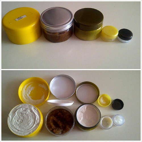 Just finished making body butter, body/face/lip scrub and lip gloss/balm..  Yes..I make my own Beauty Products.. #nadiahjaapar #handmade #homemade #beauty #product #produk #beautyproducts #ownproducts #proud #happy #blogger #iloveit #bodybutter #scrubs #b