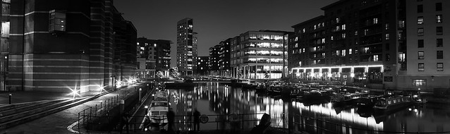 Clarence Dock - Leeds (Mono Photostitch)