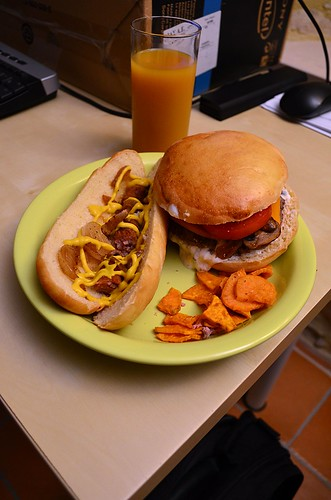 Homemade burger and hotdog