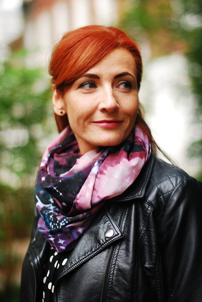 Biker jacket, polka dot blouse & galaxy scarf