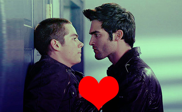 Derek and Stiles stare at each other menacingly