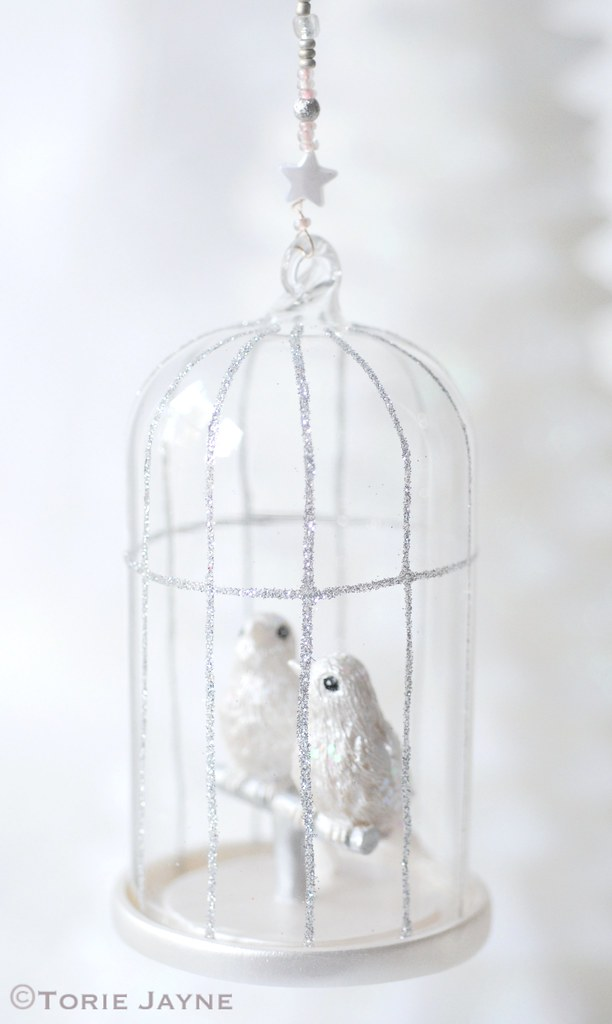 Beaded wire birdcage decoration