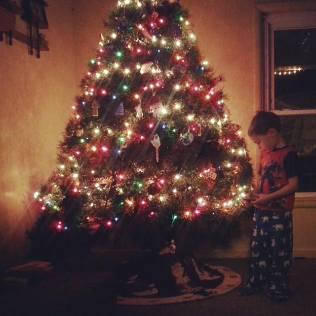 Swoon. Christmas light and my boy. | #quallschristmas2013 #rd3qualls