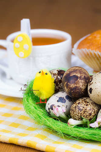 Easter table - eggs, cake, cup of tea
