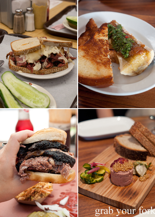 Reuben sandwich at Katz's Deli, NY; bone marrow at Animal Restaurant, LA; chicken liver parfait at Craftbar, NY; and smoked beef brisket sandwich from La Barbecue, Austin