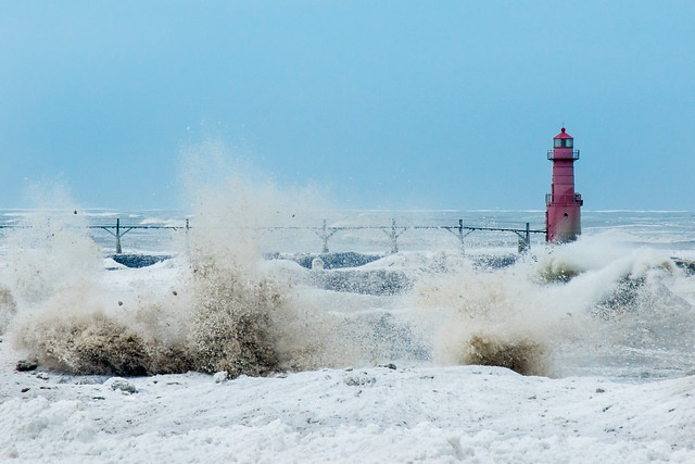 Algoma, WI, Rough Seas, Lake Michigan, Algoma, Winter, Snow, Ice