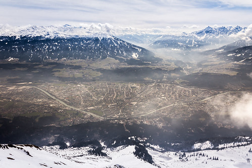 city travel mountain snow ski fog austria europe cityscape view top innsbruck hafelekarspitze