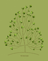 Family tree with names art yellow green brown present day green leaves roots divorce
