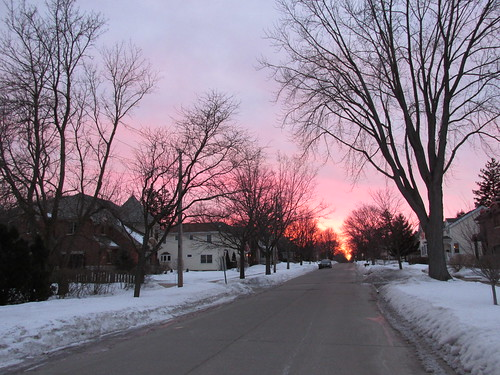 The final fading colorful remnants of a winter sunset on Dewes Street.  Glenview Illinois.  Wednsday, February 26th, 2014. by Eddie from Chicago