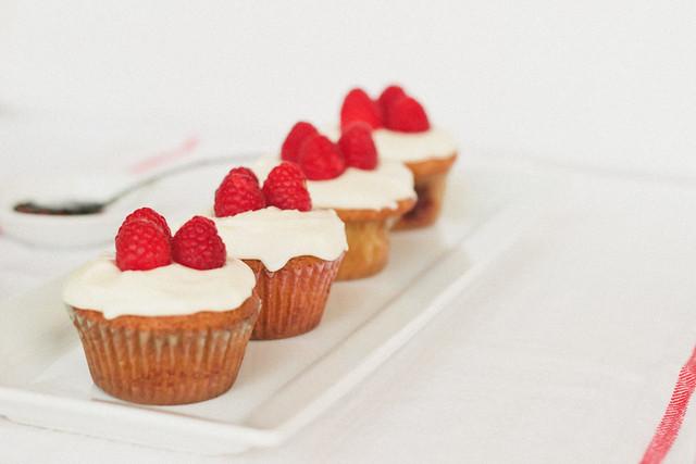{vanilla mascarpone cupcakes with orange blossom-raspberry compote} via chevrons & éclairs