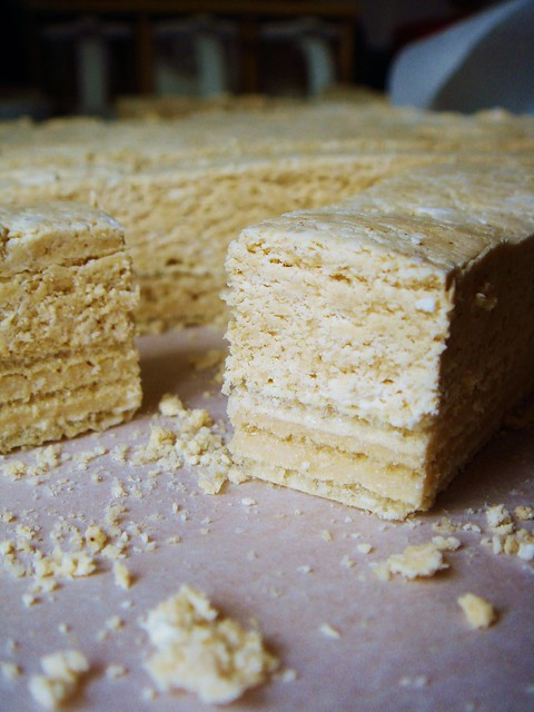Fluffy Peanut Butter Nougat on Wafer: Cut