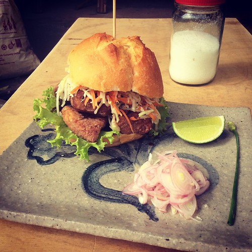 Karaage burger w/ Japanese slaw and quick pickled onion