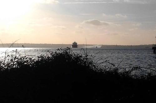 Ship and dredger(?)