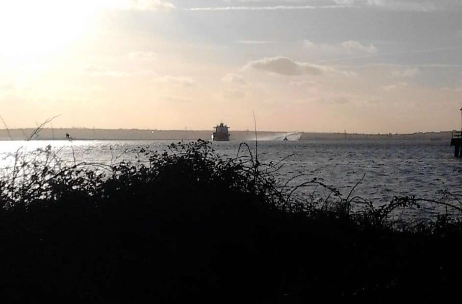 Ship and dredger(?) Higham Circular