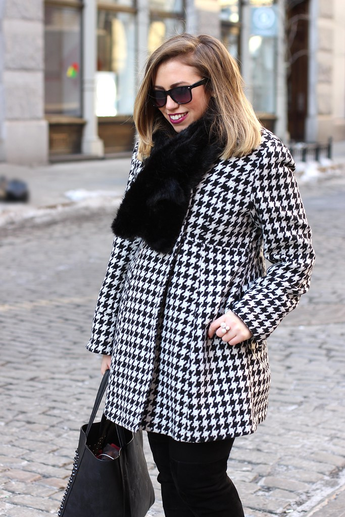 Bundled in Houndstooth | Winter Outfit | #LivingAfterMidnite