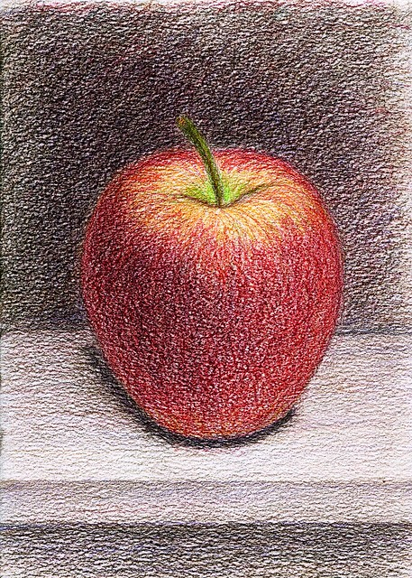 red apple. colored pencils. A5