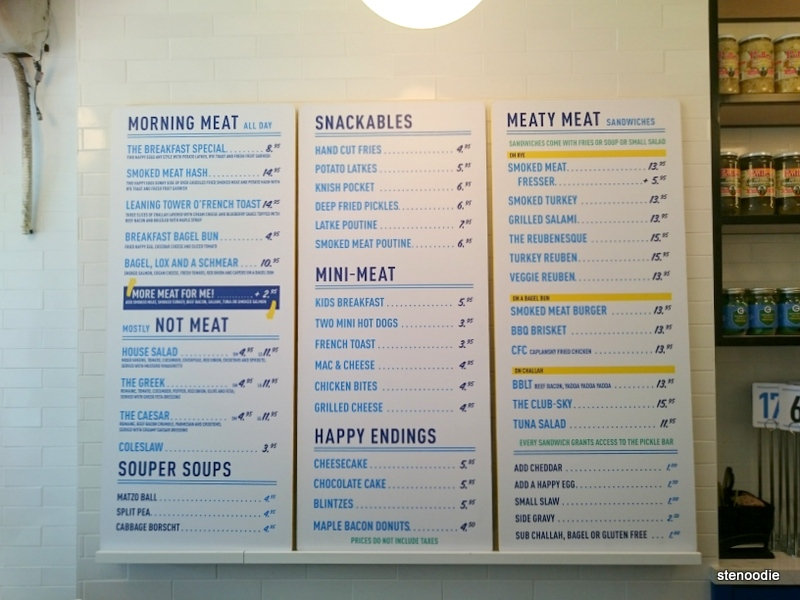 menu at Caplansky's Deli