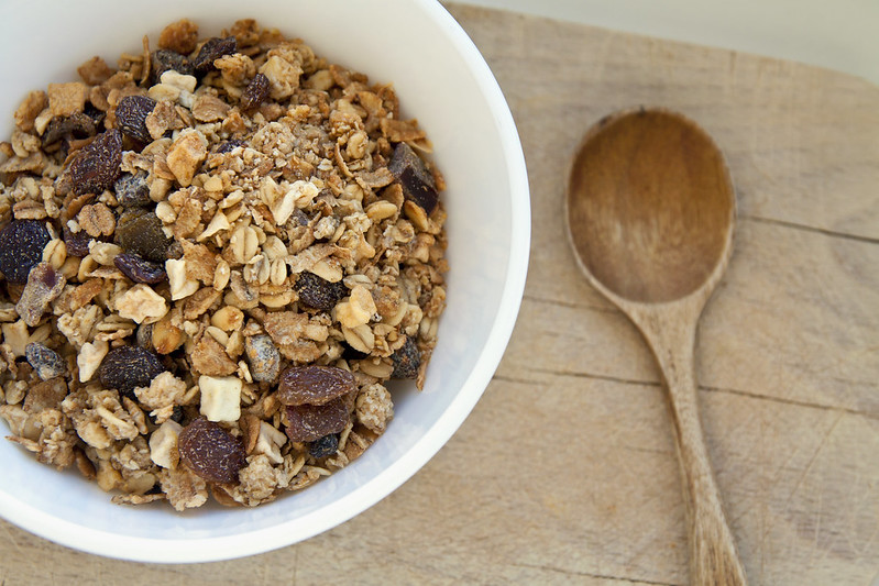 Bowl of organic muesli and spoon