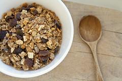 Bowl of organic muesli and spoon
