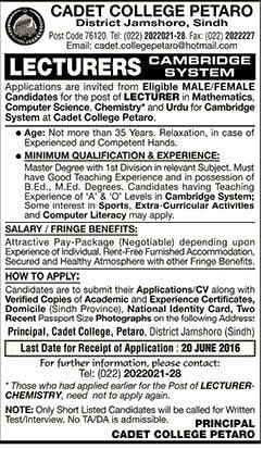 Cadet College Petaro Jobs