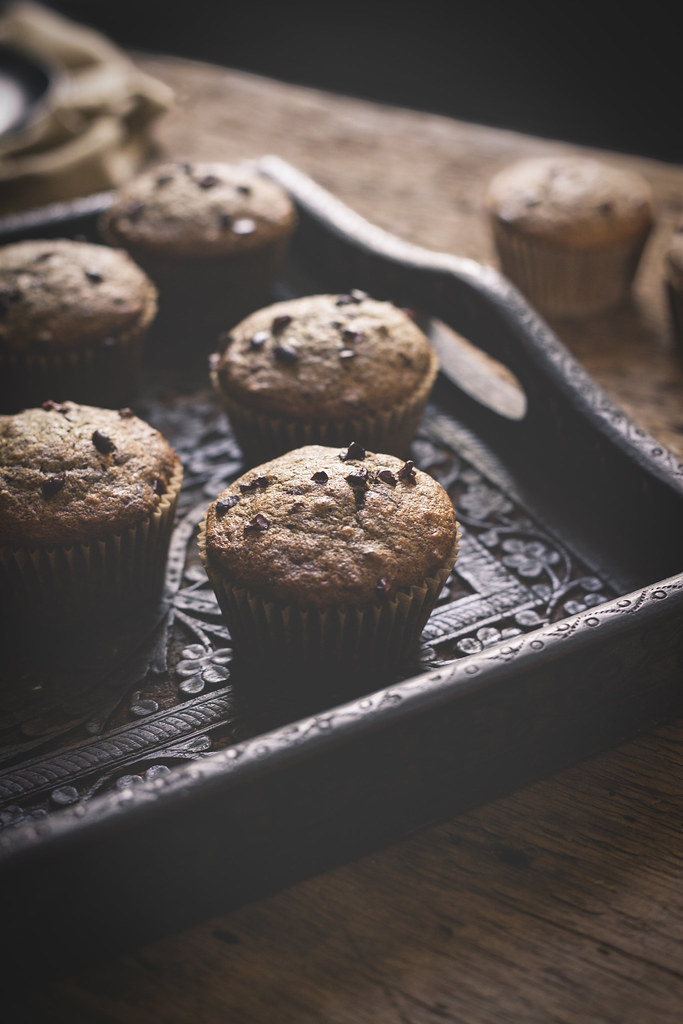 Buckwheat Banana Muffins with Chocolate Chunks & Cacao Nibs