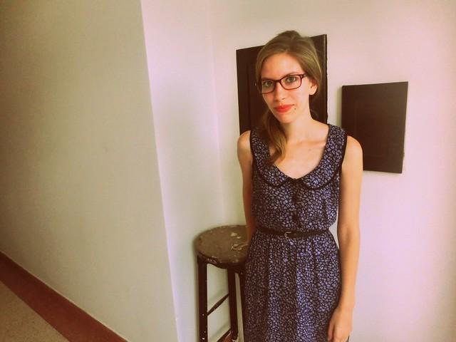 Vintage dress with a round neckline