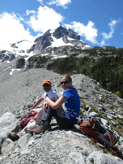 Enjoying lunch on the ridge