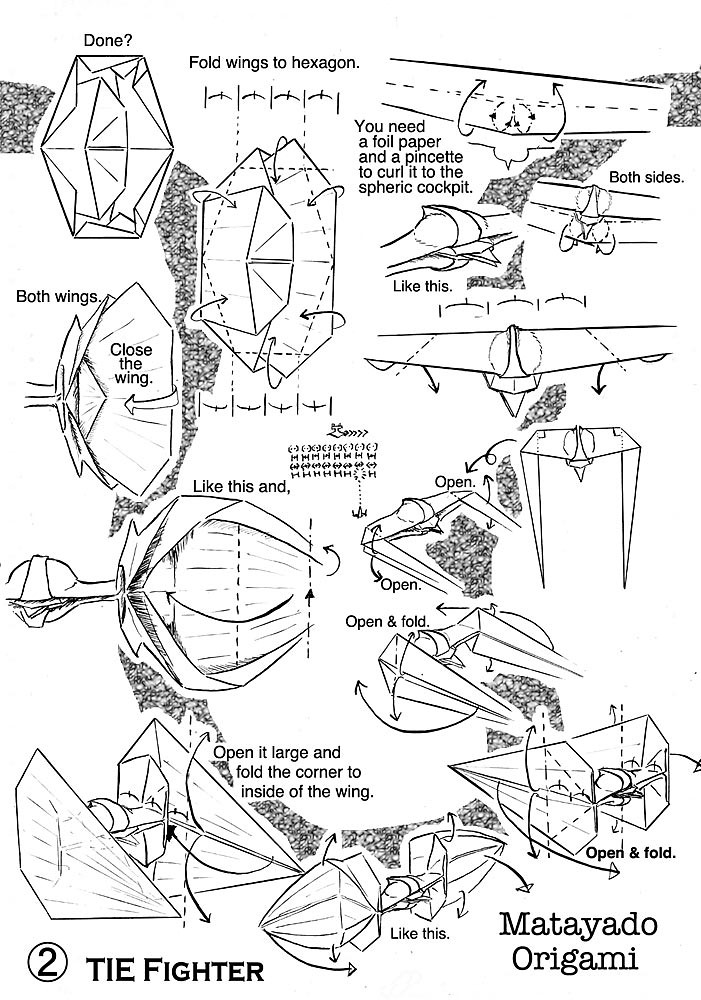 tie fighter origami diagram 2